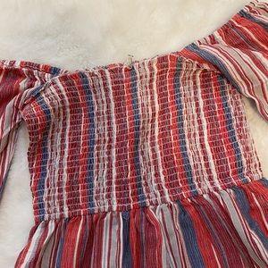 Vici Dresses - En Creme Vici Smocked Off Shoulder Mini dress sz S